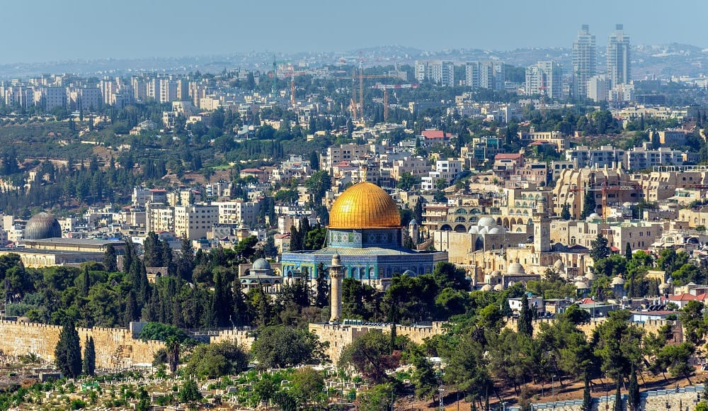 Temple Mount in front of Jerusalem Skyline